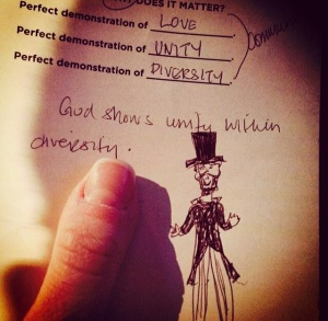 God celebrates our diversity, not our perfection. He is also okay with my doodling in church.