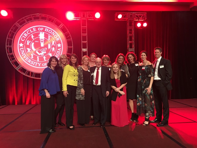 This photo represents over 30 years of Georgia volleyball from the inaugural coach of the program, Sid Feldman to the current head coach, Tom Black. My very own assistant was honored for her achievement as a bulldog player, coach and her life beyond Georgia.
